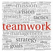 Teamwork concept in word tag cloud on white background — Stock Photo