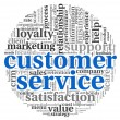 Customer service concept in word tag cloud on white — Stock Photo #13421353