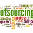 Outsourcing concept in word tag cloud on white background — Stock fotografie