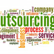 Outsourcing concept in word tag cloud on white background — Stockfoto