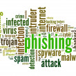 Phishing concept in word tag cloud on white background — Stockfoto