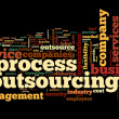 Stock Photo: Process outsourcing concept in word tag cloud on black background