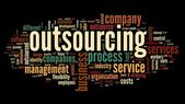 Outsourcing concept in word tag cloud on black background — Stock Photo