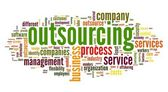 Outsourcing concept in word tag cloud on white background — Stock Photo
