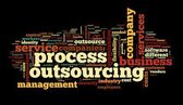 Process outsourcing concept in word tag cloud on black background — Stock Photo