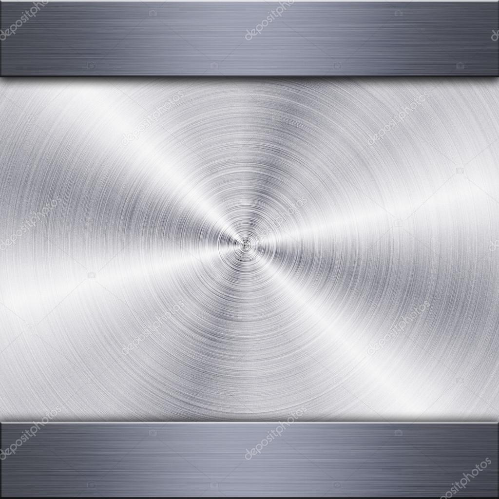 Background of brushed metal plate with reflections in circular shape — Foto Stock #13421473