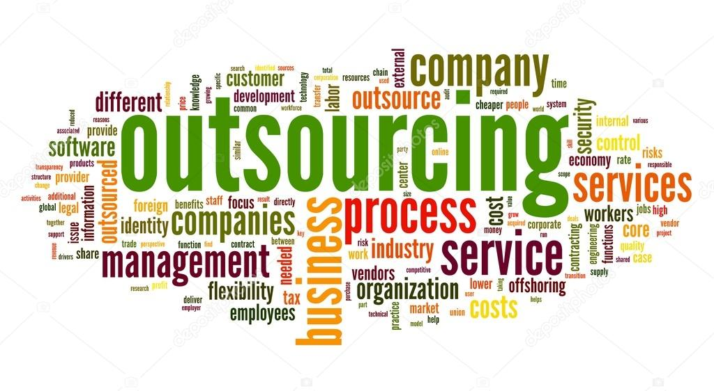 Outsourcing concept in word tag cloud on white background  — Stock Photo #13421503