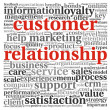 Customer relationship concept in word tag cloud on white - Stock Photo