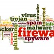 Firewall concept in word tag cloud on white background — Stockfoto