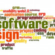 Software design concept in tag cloud on white background — Stock Photo