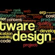 Software design concept in tag cloud on black background — Stock Photo