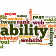 Web usability concept in tag cloud on white background — Stock Photo #13565504