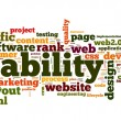 Web usability concept in tag cloud on white background — Stockfoto