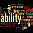Web usability concept in tag cloud on black background — Foto de stock #13565506