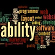 Foto Stock: Web usability concept in tag cloud on black background