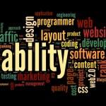conceito de usabilidade Web na nuvem de Tags em fundo preto — Foto Stock