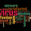 Spyware concept in word tag cloud on black background — 图库照片