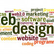 Web design concept in word tag cloud on white background - Foto Stock