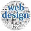 Web design concept in word tag cloud on white background — Стоковая фотография