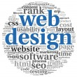 Web design concept in word tag cloud on white background — Stockfoto #13565520