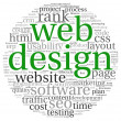 Web design concept in word tag cloud on white background — Stock Photo #13565522