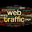 Web traffic concept in word tag cloud on black — Stock Photo #13565524