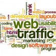 Web traffic concept in word tag cloud on white - Foto de Stock  