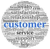 Customer service concept in word tag cloud on white — Stock Photo