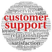 Customer support concept in word tag cloud on white — Stock Photo