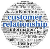 Conceito de relação de cliente na nuvem de tags de palavra em branco — Foto Stock