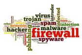Firewall concept in word tag cloud on white background — Stock Photo