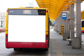 Blank billboard on back of bus — Stock Photo