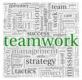 Teamwork and strategy concept in word tag cloud — Stock Photo