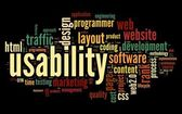 Web usability concept in tag cloud on black background — Stock Photo