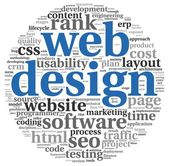 Web design concept in word tag cloud on white background — Stok fotoğraf