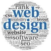 Web-design-konzept in wort-tag-cloud auf weißem hintergrund — Stockfoto