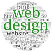 Web design concept in word tag cloud on white background — 图库照片