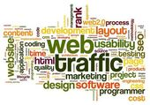 Web traffic concept in word tag cloud on white — Zdjęcie stockowe