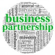 Business partnership concept in tag cloud on white — Stock Photo