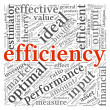 Efficiency concept in word tag cloud on white background — Stock Photo
