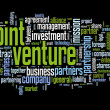 Joint venture concept in tag cloud on black background — Foto Stock