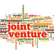 Joint venture concept in tag cloud on white background — Foto Stock