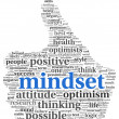 Mindset concept in word tag cloud of thumb up shape — 图库照片