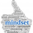 Mindset concept in word tag cloud of thumb up shape — Stockfoto