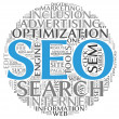 Search engine optimization SEO concept in word tag cloud on white background — Stock fotografie
