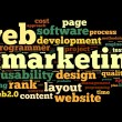 Web marketing concept in word cloud on black background — Stock Photo #13721757