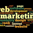 Stock Photo: Web marketing concept in word cloud on black background