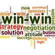 Stock Photo: Win-win negotiation solution concept in word tag cloud on white background