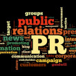 Public relations concept in word tag cloud on black background — Stok fotoğraf
