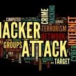 Hacker attack concept in word tag cloud isolated on black background — Stock Photo